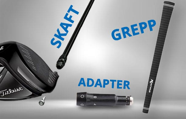 Skaft med adapter til golf drivers